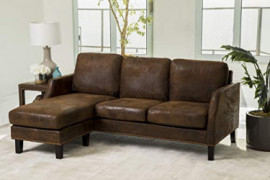 Abbyson Living Reversible Chaise Lounge Faux Leather Sectional Sofa, Dark Brown
