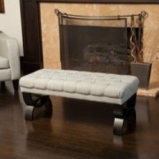 Colette Tufted Light Brown Fabric Ottoman Bench