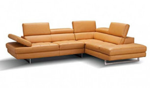 A761 Italian Leather Right Facing Sectional Sofa in Freesia