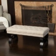 Colette Tufted Beige Fabric Ottoman Bench