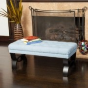 Colette Tufted Blue Fabric Ottoman Bench