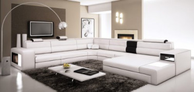 VIG Polaris - White Contemporary Leather Sectional Sofa