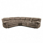 "Homelegance 118"" Manual Reclining Sectional Sofa, Brown"