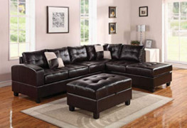 HomeRoots Sectional Sofa with 2 Pillows  Reversible , Espresso Bonded Leather Match - Bonded Leather + PU, Fram Espresso BLM