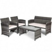 Goplus Patio Furniture 4 Pieces Rattan Conversation Sofa Set with Cushions and Table for Garden Yard Balcony Classic Gray