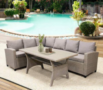 LZ LEISURE ZONE Patio Dining Table Set Outdoor Furniture PE Rattan Wicker Conversation Set All-Weather Sectional Sofa Set wit