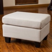 Christabel Beige Fabric Ottoman Footstool