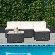 Tangkula 5 PCS Patio Furniture Sets, Outdoor Conversation Set, Wicker Combination Furniture for Outdoor Indoor, Modern Wicker