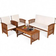 Tangkula Outdoor 4 Pcs Acacia Wood Sofa Set w/Water Resistant Cushions, Padded Patio Seating Chat Set w/Coffee Table for Gard