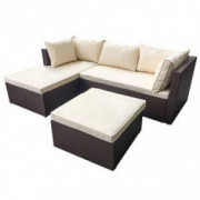 AmazonBasics Outdoor Patio Garden 3-pc Wicker Rattan Sectional Sofa Lounge Set with Cushions and Ottoman  Brown