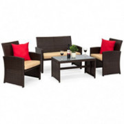 Best Choice Products 4-Piece Wicker Patio Furniture Set w/Table, Tempered Glass, 3 Sofas, Cushioned Seats - Brown