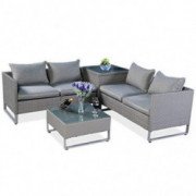 TANGKULA Patio Furniture Set 4 Piece, Outdoor Wicker Rattan Sectional Sofa Set with Storage and Coffee Table, Suitable for La