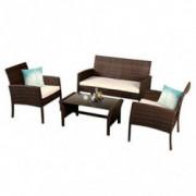 Goplus Rattan Sofa Furniture Set Outdoor Garden Patio 4-Piece Cushioned Seat Wicker  Coffee