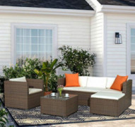 Merax Rattan Patio Furniture Set Wicker Sofa Cushioned Sectional Furniture Set Garden Patio Sofa Set  4 Pieces, Brown