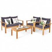 Tangkula Outdoor 4-Piece Acacia Wood Chat Set, 4 Seater Acacia Wood Conversation Sofa and Table Set with Water Resistant Cush