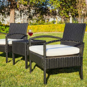 M&W 3 Pieces Patio Sofa Set, PE Wicker Rattan Outdoor Sectional Furniture, 2 Cushioned Chairs and 1 Coffee Table for Lawn Gar