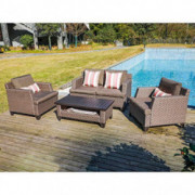 SUNSITT 5-Piece Outdoor Furniture Sofa Set PE Rattan Patio Conversation Set with Coffee Table Sofa Cover and Accent Pillows I