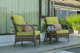 N&V Patio Outdoor Furniture Bistro Sets Mouldproof Wicker Chairs with Glass Coffee Table Pillows & Waterproof Cushions for Ou
