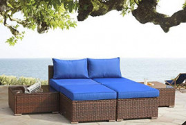 Patio Sofa 6-Piece PE Rattan Couch Outdoor Garden Furniture with Brown PE Wicker Royal Blue Cushion