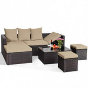 Tangkula 5-Piece Wicker Patio Conversation Furniture Set, Outdoor Rattan Sofas w/Ottomans and Coffee Table, Sectional Sofa Se