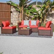 OC Orange-Casual Patio Rattan Sofa Set Couch Wicker Patio Furniture Set Garden Conversation Set, Brown & Orange Cushion  5pcs