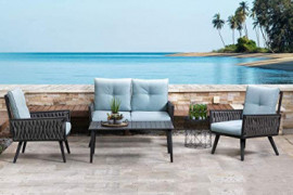 Glitzhome Patio Furniture Sets 4 Pieces Conversation Set Outdoor Sofa Chair Set with Glass Coffee Table  Style 1