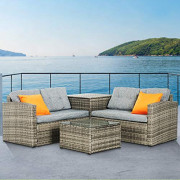 Mecor 4PC Patio Furniture Set, Wicker Outdoor Furniture Sectional Cushioned Sofa Set with Storage Box Glass Coffee Table and
