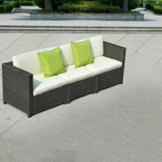 Tangkula 3PC Outdoor Patio Sofa Set Sectional Furniture PE Wicker Rattan Deck Couch  Black