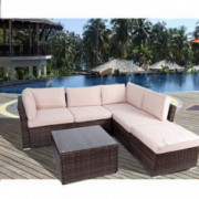 Polar Aurora 5-Seat Patio Furniture Set PE Rattan Wicker Sectional Sofa Outside Couch 4pcs Conversation Set w/Beige Washable