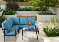 Kozyard 4 Pieces Outdoor Sofa Set with Strong Metal Frame and Comfortable Cushions, Perfect as Patio Furniture Conversation S