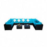 KOOLWOOM Outdoor Patio Furniture Set,Sectional Wicker Sofa Washable Waterproof PE Cushions,Backyard,Pool  12, Blue