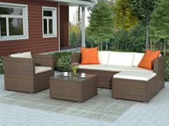 LZ LEISURE ZONE Patio Furniture Set Outdoor Sectional Sofa Set All-Weather PE Rattan Wicker Lawn Conversation Sets 4 Pieces P