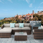 HOMPUS Outdoor Sectional Sofa Set, 6 Pieces All-Weather Conversation Set w Brown Wicker Sectional Backyard Sofa, 3 Teal Patte