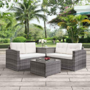 4pcs Patio Conversation Set Rattan Garden Outdoor Furniture Sofa Set with Storage Box and Cushions  Beige Cushions