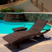 Lakeport Outdoor Wicker Lounge and Table