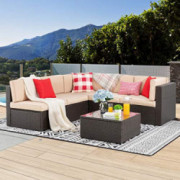Vongrasig 6 PCS Patio Furniture Set, Small Outdoor Wicker Sectional Sofa Couch All Weather PE Rattan Patio Sofa Garden Backya
