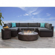 COSIEST 8 Piece Propane Firepit Table Wicker Sectional Sofa,Chocolate Brown Patio Set w 42-inch Round Bronze Fire Table  50,0