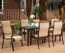 Brigantine 7-Piece Rust-Free Aluminum Outdoor Patio Dining Set with 6 Dining Chairs and Aluminum Rectangular Dining Table, BR