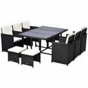 Outsunny 11 Piece Outdoor PE Rattan Wicker Table and Chair Patio Furniture Set