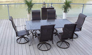 Pebble Lane Living 7-Piece Patio Dining Set, All Weather & Rust Proof Powder Coated Aluminum, 6 Swivel Rocking Wicker Dining