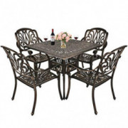 TITIMO 5-Piece Outdoor Furniture Dining Set, All-Weather Cast Aluminum Conversation Set Includes 4 Chairs and 1 Square Table
