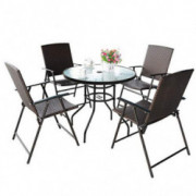 S AFSTAR 5 Pieces Patio Dining Set, 4 Folding Chairs with Table, Portable Wicker Chairs Furniture Set for Outdoor Garden Back