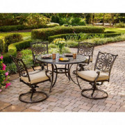 """Hanover Traditions 5-Piece Cast Aluminum Outdoor Patio Dining Set, 4 Swivel Rocker Chairs and 48"""" Round Table, Brushed Bronze"""