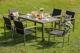 Festival Depot 7-Piece Patio Steel Dining Set 6 Seat Wicker Rattan Chairs Furniture and Table  7pc Grey