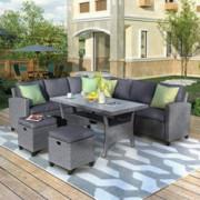 Merax Patio Dining Table Set Outdoor Furniture Sofa PE Rattan Wicker Conversation Set