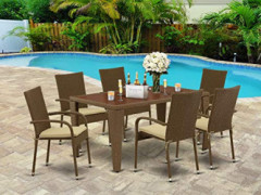East West Furniture GUGU702A 7Pc Outdoor Brown Wicker Dining Set Includes a Patio Table and 6 Balcony Backyard Armchair with