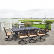 """Hanover Traditions 9-Piece Cast Aluminum Outdoor Patio Dining Set, 8 Swivel Rocker Chairs and 42""""x84"""" Rectangle Table, Brushe"""