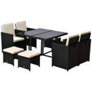 Outsunny 9 Piece Outdoor Rattan Wicker Dining Table and Chairs Furniture Set