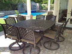 "Nassau Cast Aluminum Powder Coated 9pc Outdoor Patio Dining Set with 64""x64"" Square Table - Antique Bronze"