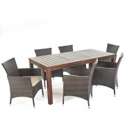 Christopher Knight Home Christine Outdoor Dining set with Wood Table and Wicker Dining Chairs with Water Resistant Cushions,
